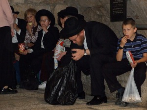 A Traditional Jewish family having a snack